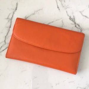 Handbags - Orange no brand leather wallet like new